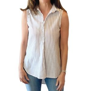 Love Notes Striped High Low Blouse Shirt Top M